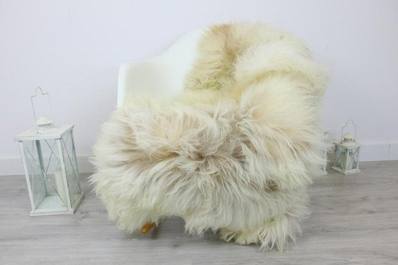 Genuine Natural rare Icelandic Sheepskin Rug, Pelt, soft long fur - ivory Scandinavian Decor Sofa Sheepskin throw Chair Cover Natural