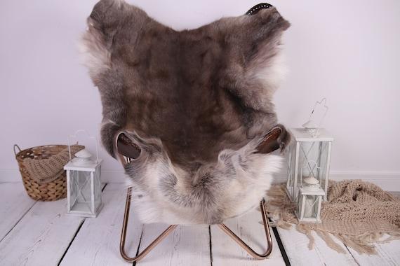 Reindeer Hide | Reindeer Rug | Reindeer Skin | Throw XXL EXTRA LARGE - Scandinavian Style Christmas Decor Brown White Hide #Lre2