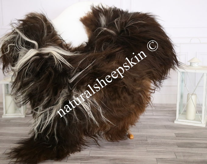 Icelandic Sheepskin | Real Sheepskin Rug | Sheepskin Rug Brown White | Fur Rug | Homedecor #MAYISL7