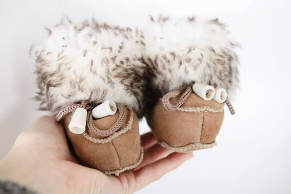 Baby Christmas Set Booties + Gloves   Baby first winter Booties   Sheepskin Slippers Booties   Winter Booties   Newborn leather Booties