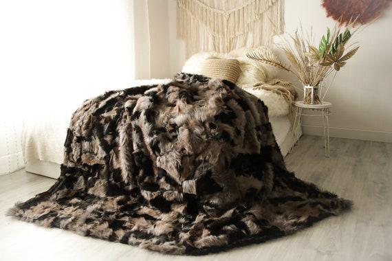 Luxurious Patchwork Toscana Sheepskin Real Fur Throw   Real Fur Blanket   Sheepskin throw   Boho Throw  3FU3