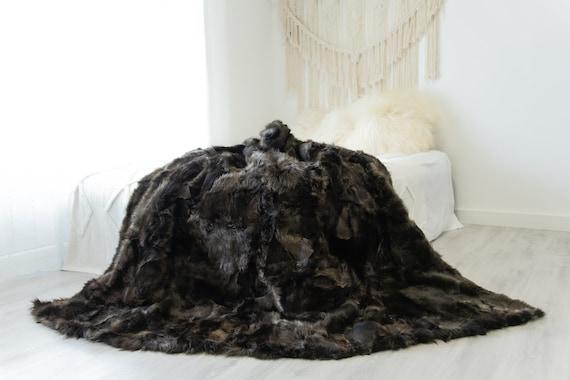 Luxurious Patchwork Toscana Sheepskin Real Fur Throw Real Fur Blanket   Sheepskin throw   Sheepskin Blanket Boho Throw Brown #FuFu103