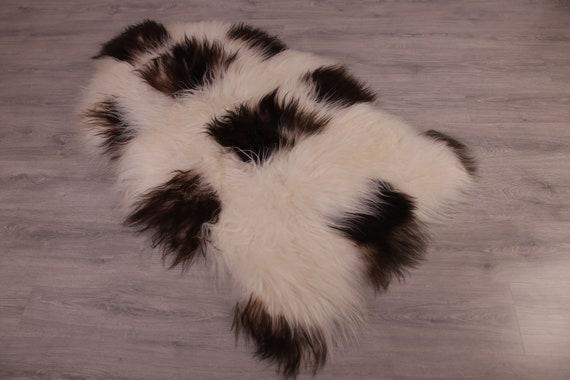 Double Sheepskin Rug Long rug Sheepskin Throw Chair Cover Runner Rug  Carpet  Brown White Sheepskin Sheep Skin Rug | ŚRSZ3