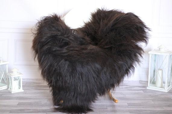 Icelandic Sheepskin | Real Sheepskin Rug |  Super Large Sheepskin Rug Brown Black | Fur Rug | Homedecor #KOWISL27
