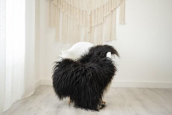 Real Icelandic Sheepskin Rug Scandinavian Home Decor Sofa Sheepskin throw Chair Cover Natural Sheep Skin Rugs Black Curly fur #Iceland509