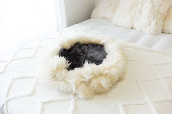 Sheepskin Cat Bed Or Dog Bed Cat Cave Unique Pet Bed Cat House Pet Furniture Hand Made With Genuine Real Sheepskin XXL Extra Large #Bed23