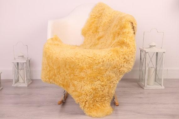 Real Sheepskin Rug Genuine Rare Gotland Sheepskin Rus - Curly Fur Rug Scandinavian Sheepvskin - Beige Yellow Sheepskin #4Margot31