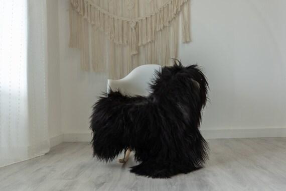 Real Icelandic Sheepskin Rug Scandinavian Decor Sofa Sheepskin throw Chair Cover Natural Sheep Skin Rugs Gray Black #Iceland388