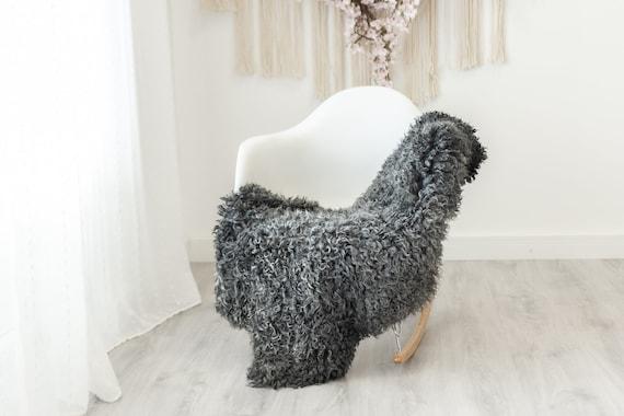 Real Sheepskin Rug Genuine Rare Gotland Sheepskin Rus - Curly Fur Rug Scandinavian Sheep skin - Curly Rug Gray Sheepskin #G19