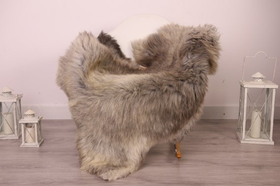 Real Sheepskin Rug Shaggy Rug Chair Cover Sheepskin Throw Sheep Skin Gray Brown Sheepskin Home Decor Rugs #8her36