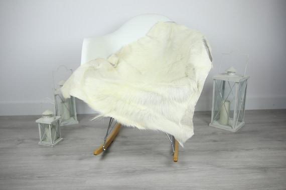Natural Real Goatskin Rug, Goat Hide Goat Rug Ivory White #Goat15