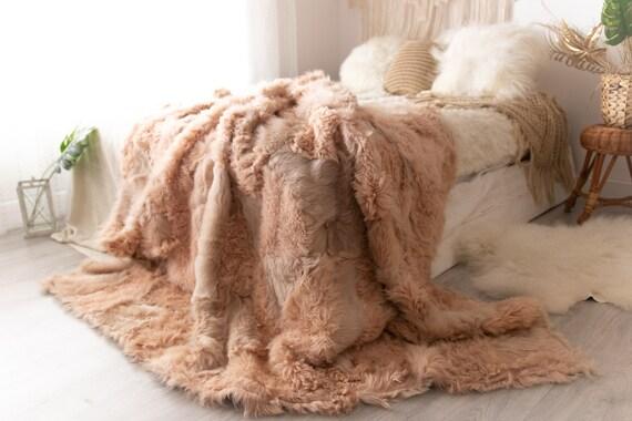 Luxurious Toscana Sheepskin Real Fur Bed Spread Throw Real Fur Blanket Sheepskin throw Sofa Cover Luxury Blanket Comforter Boho Pink