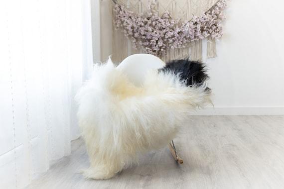Real Icelandic Sheepskin Rug Scandinavian Home Decor Sofa Sheepskin throw Chair Cover Natural Sheep Skin Rugs Ivory Black #Iceland313