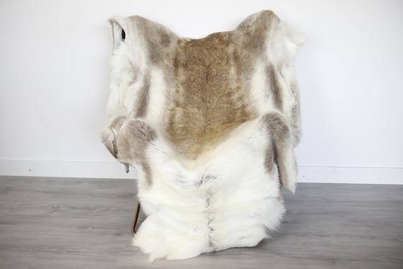 Reindeer Hide | Reindeer Rug | Reindeer Skin | Throw XXL EXTRA LARGE - Scandinavian Style Christmas Decor Brown Whie Hide #Ire2