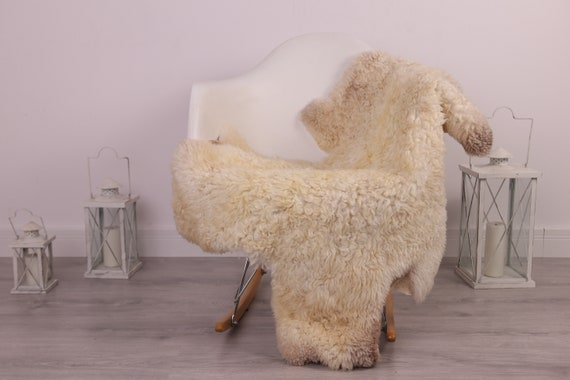 Real Sheepskin Rug Genuine Rare Gotland Sheepskin Rus - Curly Fur Rug Scandinavian Sheepvskin - Ivory Brown Sheepskin #4Margo4