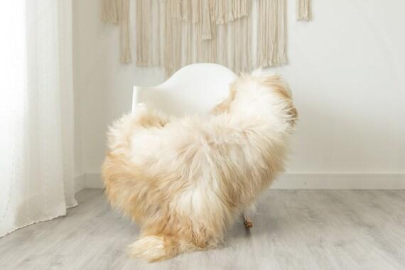 Real Icelandic Sheepskin Rug Scandinavian Home Decor Sofa Sheepskin throw Chair Cover Natural Sheep Skin Rugs Brown Ivory #Iceland497