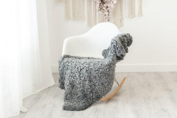 Real Sheepskin Rug Genuine Rare Gotland Sheepskin Rus - Curly Fur Rug Scandinavian Sheep skin - Curly Rug Gray Sheepskin #G20