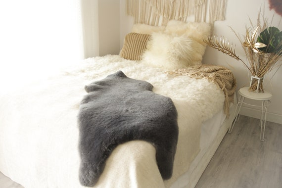 Real Sheepskin Rug Shaggy Rug Chair Cover Sheepskin Throw Sheep Skin Gray Sheepskin Home Decor Rugs #0Margot2