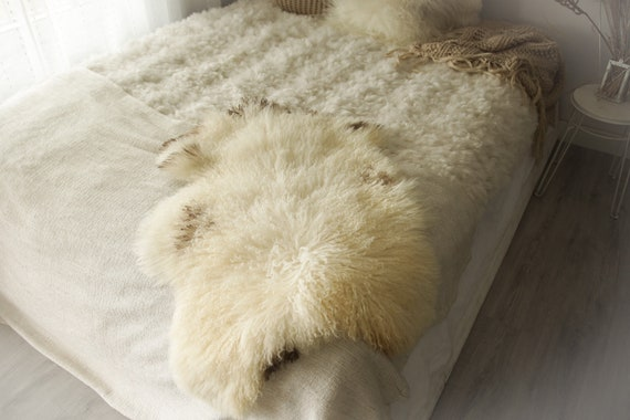 Real Sheepskin Rug Genuine Rare Gotland Sheepskin Rus - Curly Fur Rug Scandinavian Sheepvskin -  Ivory Brown Sheepskin #0Margot14