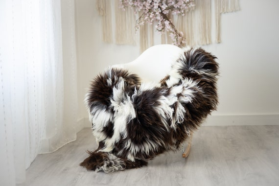 Real Sheepskin Rug Shaggy Rug Chair Cover Scandinavian Home Sheepskin Throw Sheep Skin Ivory Brown Sheepskin Home Decor Rugs #herdwik279