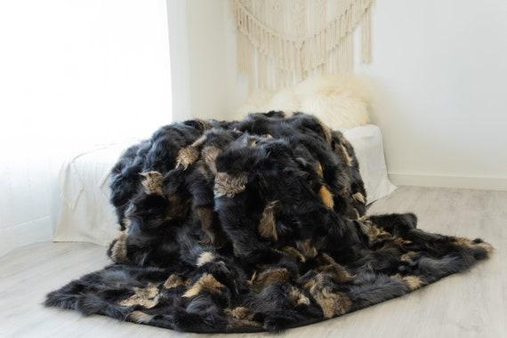 Rare Exclusive Genuine Natural Fox Rug, Pelt, soft l Real Real Fox Blanket  Exclusive Throw Graphite Beige Fox Throw Scandinavian Decor XXL