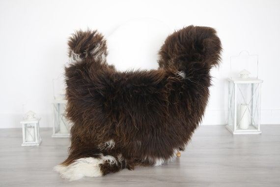 Real Sheepskin Rug Shaggy Rug Chair Cover Sheepskin Throw Sheep Skin Brown Sheepskin Home Decor Rugs #6her39