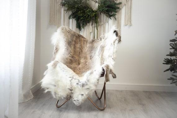 Reindeer Hide   Reindeer Rug   Reindeer Skin   Throw XXL EXTRA LARGE - Scandinavian Style Christmas Decor Brown White Hide #Reindeer93