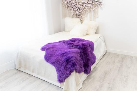 Double Purple Merino Sheepskin Rug | Long rug | Shaggy Rug | Chair Cover | Area Rug | Purple Rug | Carpet | Purple Throw | Sheep Skin