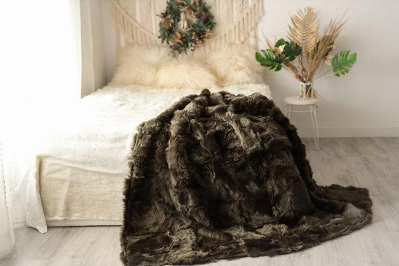 Luxurious Patchwork Toscana Sheepskin Real Fur Throw | Real Fur Blanket | Sheepskin throw | Boho Throw | 5fu5
