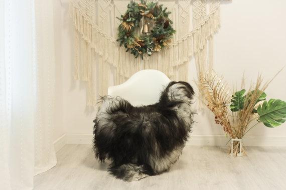 Real Icelandic Sheepskin Rug Scandinavian Decor Sofa Sheepskin throw Chair Cover Natural Sheep Skin Rugs Gray Black #Iceland78