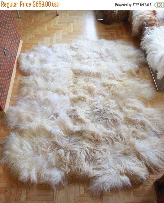 ON SALE Exclusive Genuine Natural rare ICELANDIC Sheepskin Rug, Pelt, soft long fur xxxxxl extra  Large  super soft fur - Octo