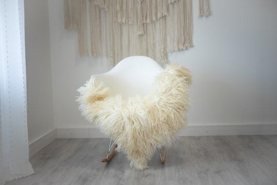 Real Sheepskin Rug Genuine Rare Curly Sheepskin - Curly Fur Rug Scandinavian Sheep skin - Ivory White Sheepskin #G26