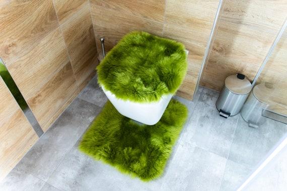 Real Sheepskin Fur Toilet Set Seat Cover Rug Scandinavian Decor Bathroom Decor Sheepskin toilet cover