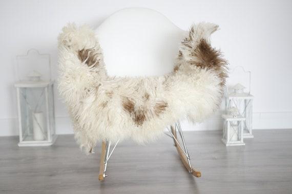Genuine Rare Tuscan Lamb Sheepskin Rug - Curly Fur Rug - Natural Sheepskin - White Brown Sheepskin | Small Sheepskin #5margot15