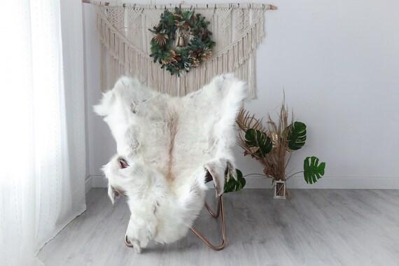 Reindeer Hide | Reindeer Rug | Reindeer Skin | Throw XXL EXTRA LARGE - Scandinavian Style Christmas Decor Brown White Hide #Pre4