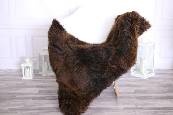 Sheepskin Rug | Real Sheepskin Rug | Shaggy Rug | Scandinavian Rug | | SCANDINAVIAN DECOR | Brown Sheepskin #OLHER25