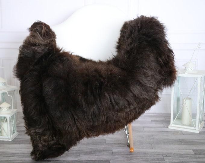 Sheepskin Rug | Real Sheepskin Rug | Shaggy Rug | Chair Cover | Sheepskin Throw | Black Brown Sheepskin | Home Decor | #HERMAJ64