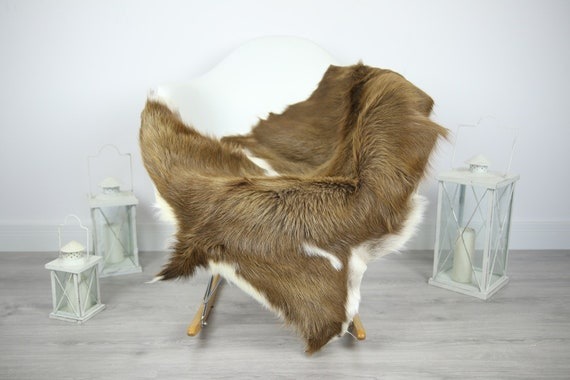 Natural Real Goatskin Rug, Goat Hide Goat Rug Brown #Goat11