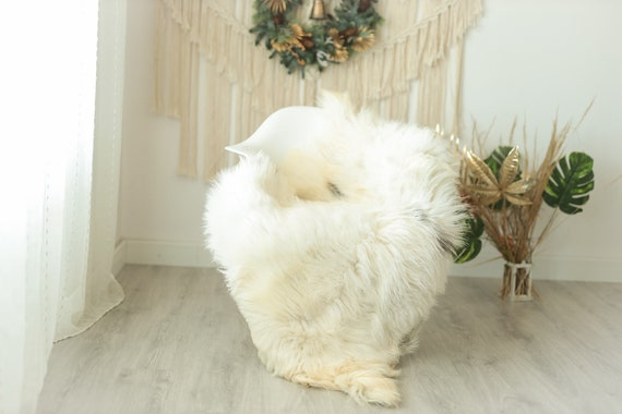 Real Sheepskin Rug Shaggy Rug Chair Cover Sheepskin Throw Sheep Skin Gray Ivory Sheepskin Home Decor Rugs #Gut13