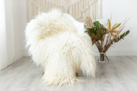 Real Sheepskin Rug Genuine Rare Mongolian Sheepskin Rus - Curly Fur Rug Scandinavian Sheep skin - Ivory Beige Curly Sheepskin #Krecisl7