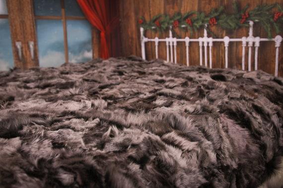 Luxurious Toscana Sheepskin Real Fur Bed Spread Throw Real Fur Blanket Sheepskin throw Sofa Cover Luxury Blanket Comforter Brown #FU24