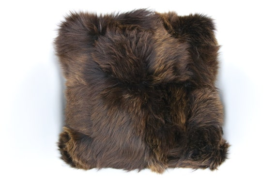 Sheepskin Fur Pillow, Real fur pillow, Brown fur pillow, Square sheepskin pillow, Brown pillow, scandinavian pillow, Both side fur