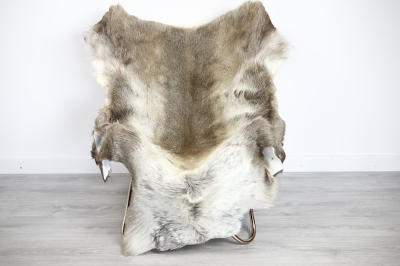 Reindeer Hide | Reindeer Rug | Reindeer Skin | Throw XXL EXTRA LARGE - Scandinavian Style Christmas Decor Brown White Hide #Ire31