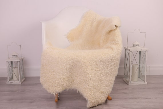 Real Sheepskin Rug Genuine Rare Gotland Sheepskin Rus - Curly Fur Rug Scandinavian Sheepvskin - Beige White Sheepskin #4Margo9