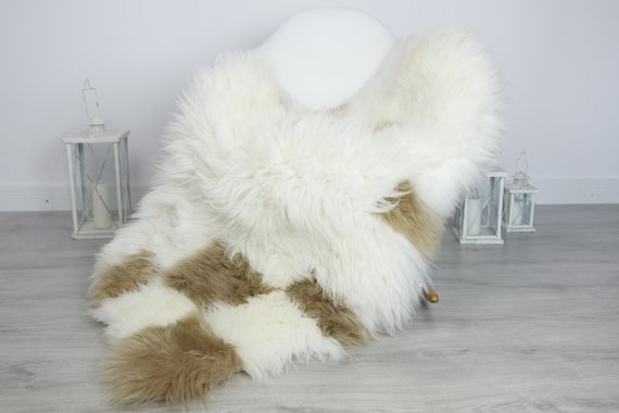 Real Sheepskin Rug Shaggy Rug Chair Cover Sheepskin Throw Sheep Skin Beige White Sheepskin Home Decor Rugs #7her55