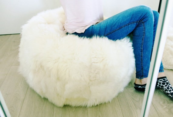 Sheepskin Beanbag White | Sheepskin Bean Bag | Sheepskin Pouf | Bean Bag Huge Bean Bag Furry Bean Bag | Bean Bag | Beanbag