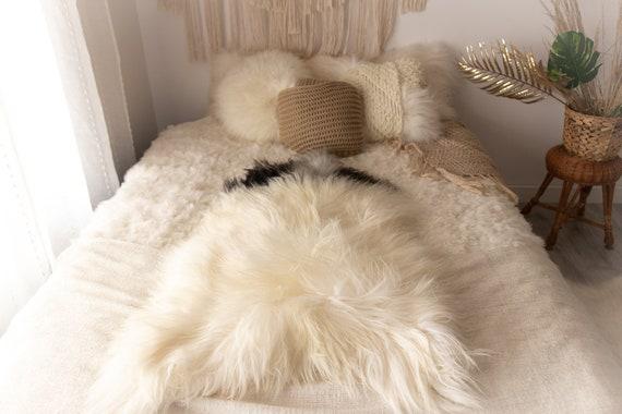 Real Icelandic Sheepskin Rug Scandinavian Decor Sofa Sheepskin throw Chair Cover Natural Sheep Skin Rugs black white Blanket Fur Rug #Miesz8