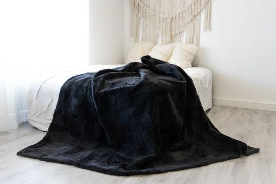 Luxurious Patchwork Sheepskin Real Fur Throw Real Fur Blanket | Sheepskin throw | Sheepskin Blanket Boho Throw Graphite  #FuFu106