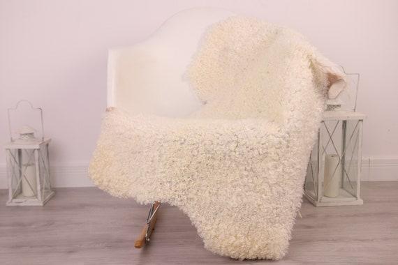 Real Sheepskin Rug Genuine Rare Gotland Sheepskin Rus - Curly Fur Rug Scandinavian Sheepvskin - White Sheepskin #4Margot29