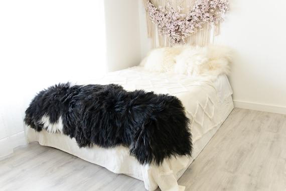 Double Icelandic Black White Sheepskin Rug | Long rug | Shaggy Rug | Chair Cover | Area Rug | Double Rug | Icelandic Sheep skin #2pol2